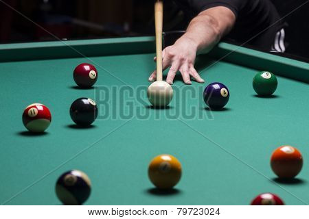 Billiard Balls In A Pool Table.stroke; Focus On The White Ball