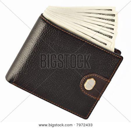 Us Dollars In A Black Wallet