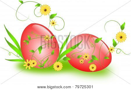 Easter Eggs With Floral Ornaments