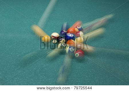 Billiard Table With Colorful Balls, Beginning Of Game, Slow Motion, Soft Focus