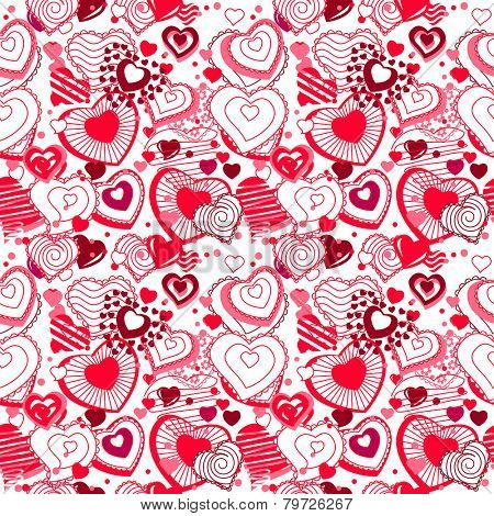Background made of different ornate hearts