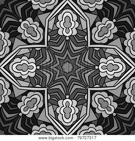 Stained Glass Monochrome Seamless Pattern
