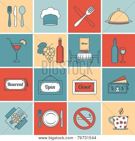 Restaurant icons set flat line