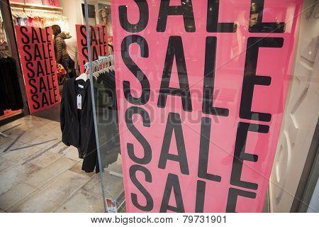 Sale In Shopping Window