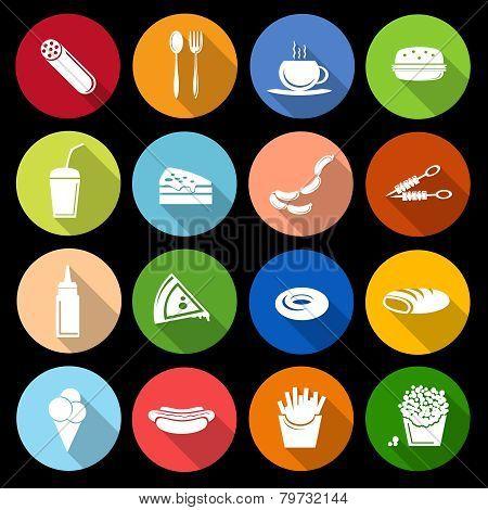 Fast food icon flat