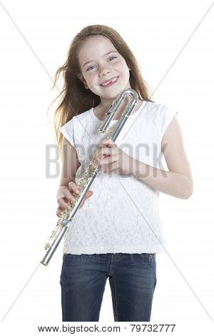 Youn Girl With Brown Hair And Holding Flute
