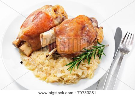 Schweinshaxe (German Pork Knuckle) with pickled cabbage