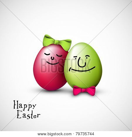 Funny easter eggs with a bow - Happy Easter Card