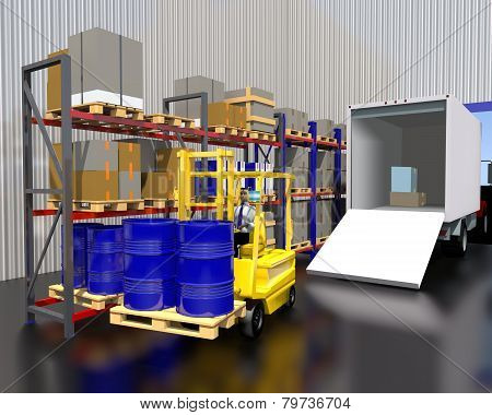 Unloading A Truck With Goods In Stock.