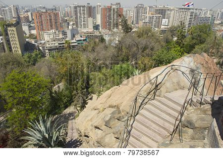 View to the central part of the Santiago city, Chile.