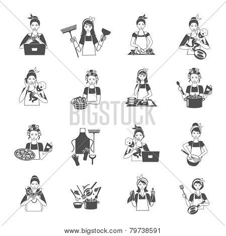 Housewife Icons Black Set