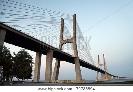 Vasco Da Gama Bridge - Cable-stayed Bridge, Flanked By Viaducts Over The River Tagus.