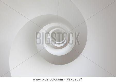White spiral staircase background