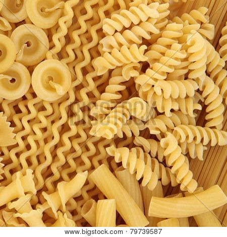Italian pasta food selection forming an abstract background.