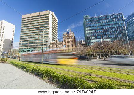 Tram in a modern green city