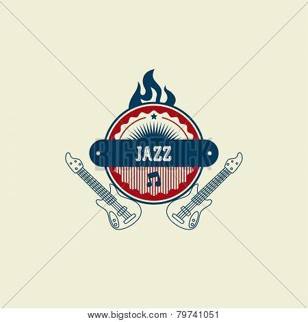 jazz Music Label Sticker