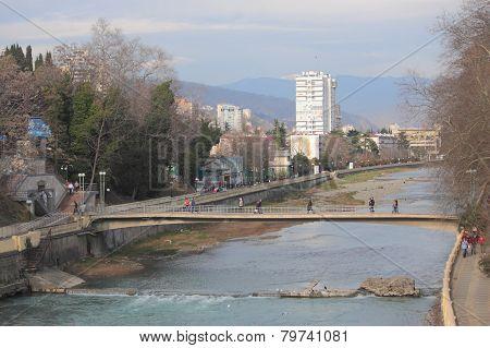 river and bridge in Sochi, Russia