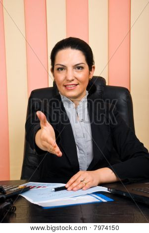 Business Woman Giving Handshake Or Welcome