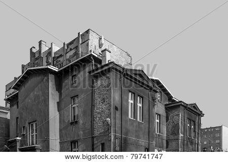 Black and white cityscape of Katowice