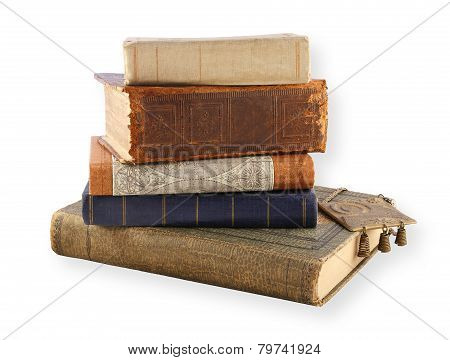 Several Old Books Isolated On White