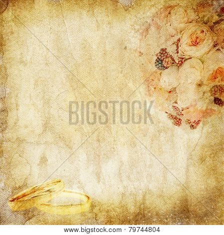 Vintage Paper With Wedding Bouquet And Rings