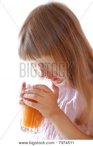 Little Girl With Carrot Juice.