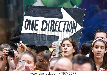 NEW YORK-AUG 23: Fans hold signs for One Director at NBC's 'Today Show' at Rockefeller Plaza on  August 23, 2013 in New York City.