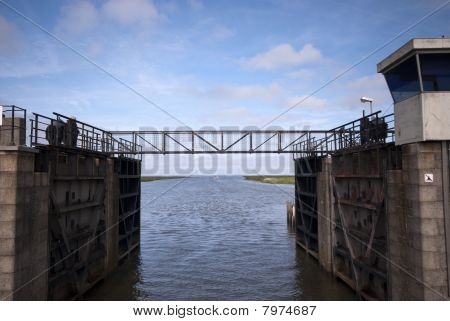 Small Steel Bridge Over Lock Chamber