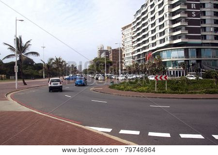 Vehicles Lining And Driving On Durban's Golden Mile, South Africa