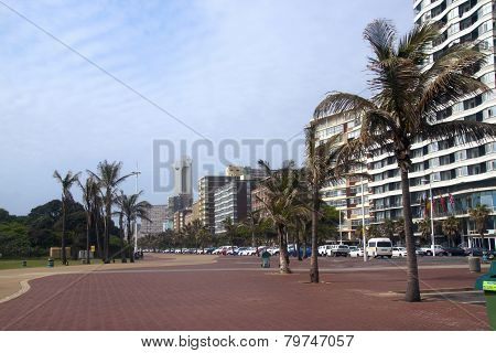 Hotels And Palm Trees Lining Durban's Golden Mile, South Africa