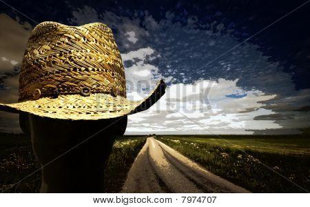 Paisaje de sombrero de paja