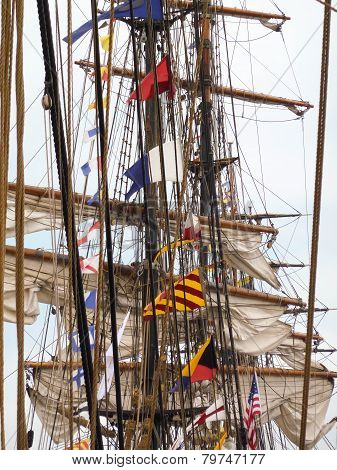 Tall Ships Lined Up At Port