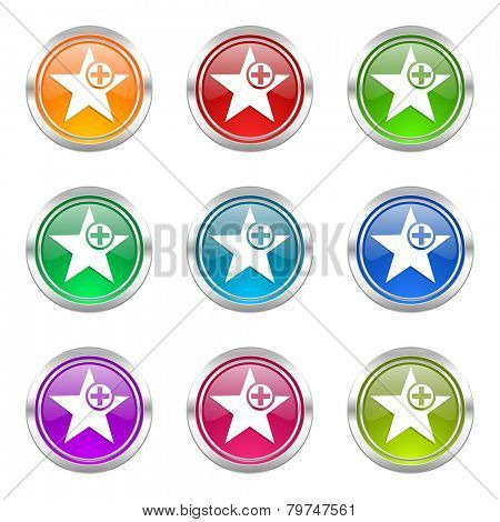 star icons set add favourite sign
