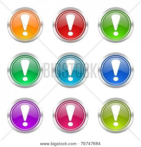 exclamation sign icons set warning sign