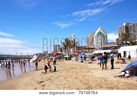 Beachgoers At Beachfront In Durban South Africa