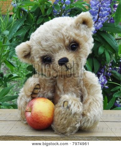 Teddy-bear Lucky With An Apple A