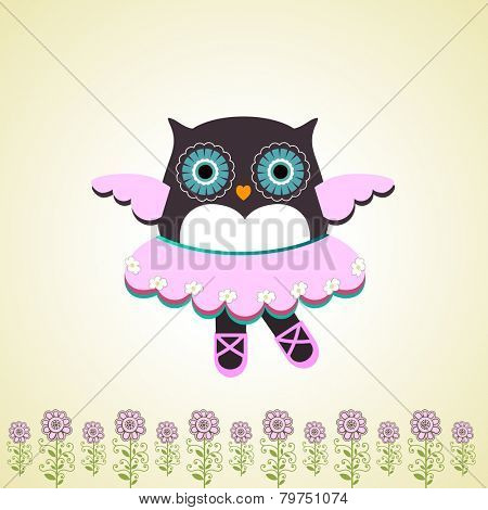 Dancing owl whimsical