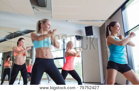 fitness, sport, people, martial arts and gym concept - group of women working out and standing in battle stance