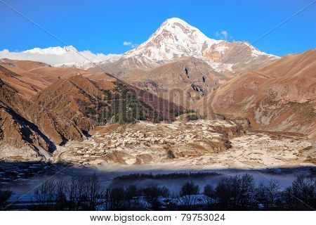 Stepantsminda Village At Mount Kazbek