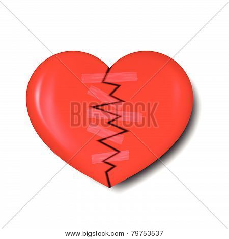 Illustration Of Broken Heart With Plaster