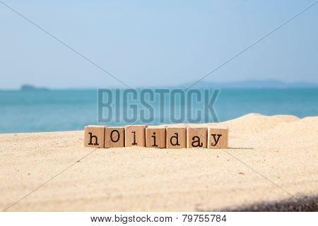 Holiday Season Sign And Beautiful Sunny Sea View