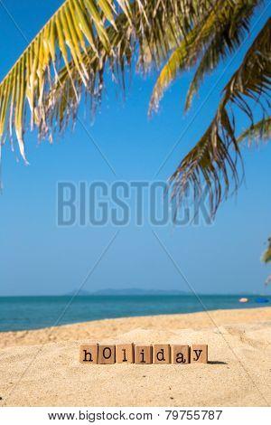 Sunny Beach And Summer Holiday Season Sign