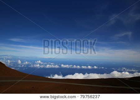 Clouds seen from a mountain peak