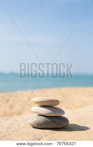 Stones Balance, Pebbles Stack On Sunny Sea Beach