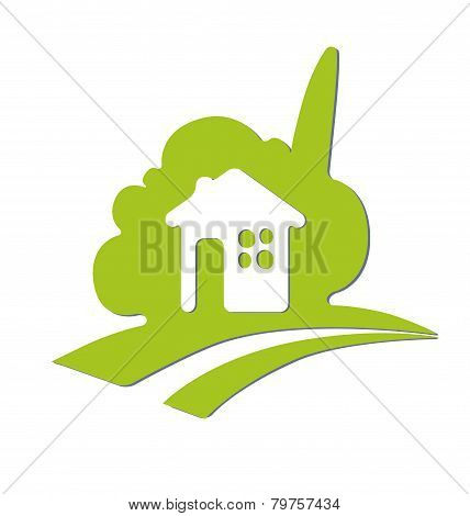 Abstract Symbol Of The House. Eco House.