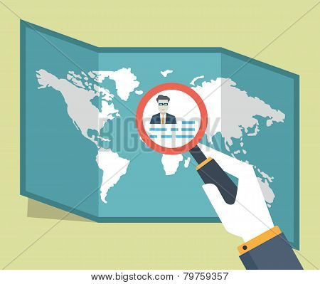 Vector Illustration Of Espionage And Surveillance