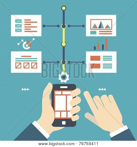 Vector Flat Illustration Of Smartphone With Wireframe Pages. Content And Work
