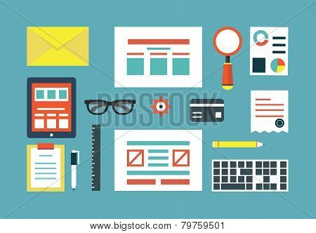Vector Set Of Equipment For Programing And Design. Gadgets For Creating Applications. Flat Style Des