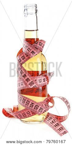 Bottle of dietary cocktail with centimeter isolated on white