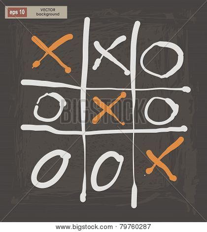 Vector Drawing Of Tic Tac Toe On A Dark Background